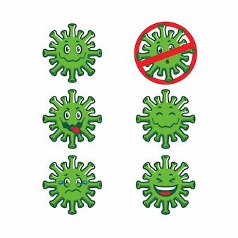 Śliczny covid 19 virus cartoon zestaw wektorów projektowych