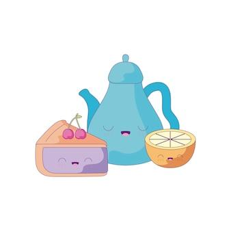 Śliczny czajniczek z pokrojonym ciastem i pomarańczowym stylem kawaii