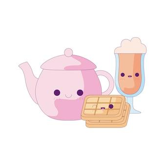 Śliczny czajniczek z zestawem jedzenia w stylu kawaii