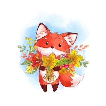 Śliczny czerwony lis z dużym bukietem opadłych liści. jesień