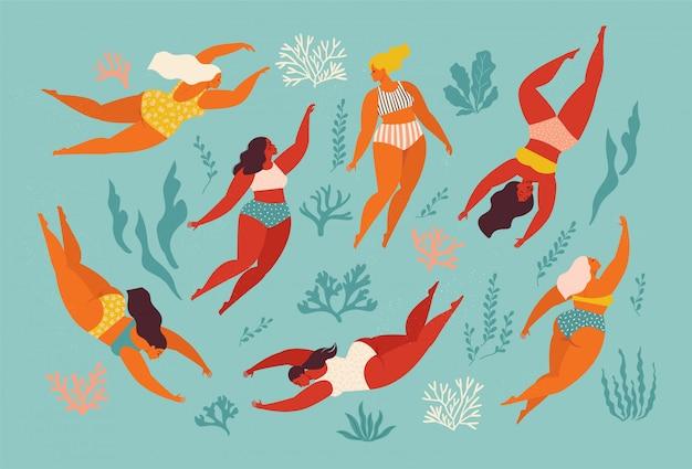 Śliczny dekoracyjny tło z pływackimi kobietami i dziewczyną w morzu lub oceanie. ilustracja. podwodny projekt graficzny. pływaj i nurkuj w morzu.