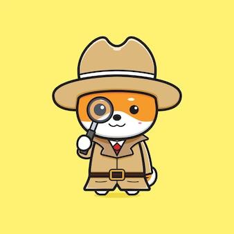 Śliczny detektyw shiba inu trzymający lupę kreskówka ikona ilustracja