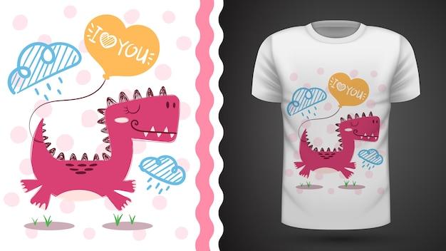 Śliczny dino - pomysł na t-shirt do druku