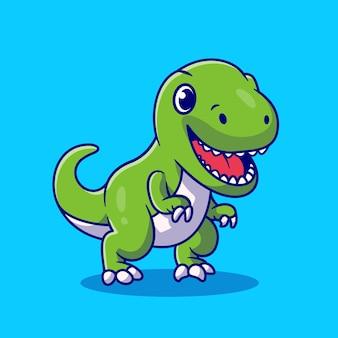 Śliczny dino uśmiechnięty. płaski styl kreskówki