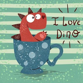 Śliczny dino z filiżanką herbata