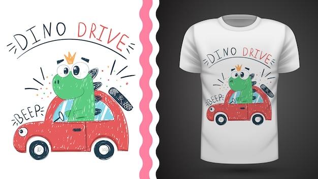 Śliczny dino z samochodem - pomysł na t-shirt z nadrukiem