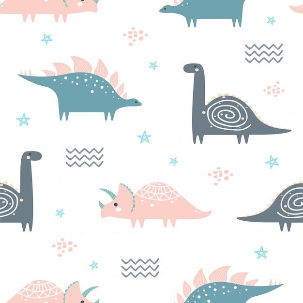 Śliczny dinosaur bezszwowy wzór dla tapety