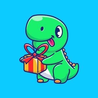 Śliczny dinosaur przynosi prezenta pudełka ikony ilustrację. postać z kreskówki maskotka dino. koncepcja ikona zwierzę na białym tle