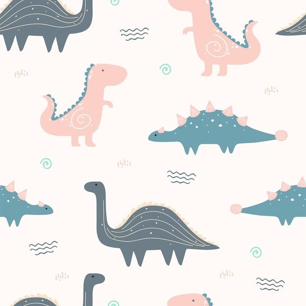 Śliczny dinosaur zwierzęcy bezszwowy wzór dla tapety