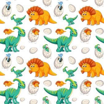 Śliczny dinosaura bezszwowy tło
