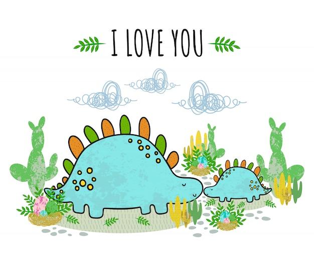 Śliczny dinozaur, kaktus, jajko, liście, soczysty