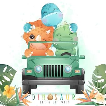 Śliczny dinozaur prowadzący samochód z akwarelą