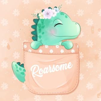 Śliczny dinozaur siedzi w kieszeni