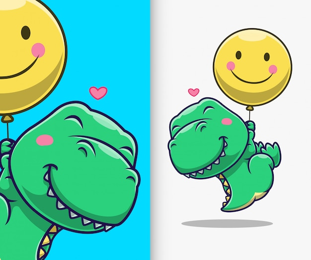 Śliczny dinozaur unosi się z balonem. postać z kreskówki maskotka dinozaurów.