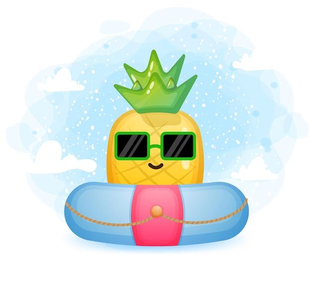 Śliczny doodle ananas z postacią z kreskówki boja do pływania