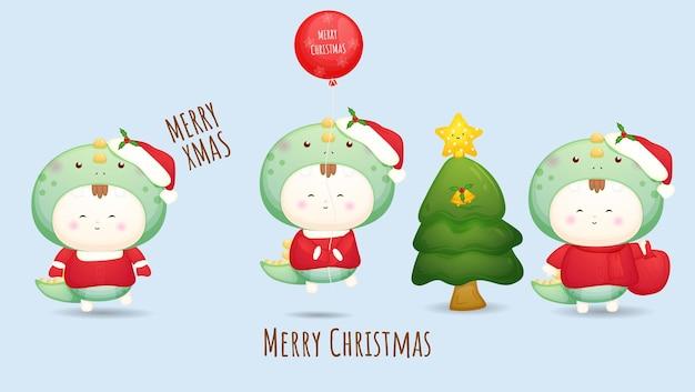 Śliczny doodle baby santa na wesołych świąt zestaw ilustracji premium wektorów
