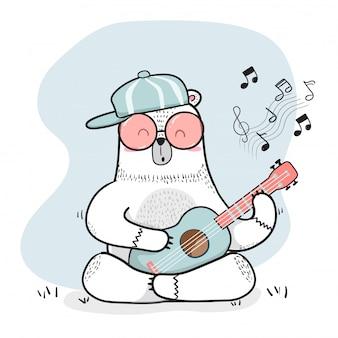 Śliczny doodle biały niedźwiedź bawić się gitarę