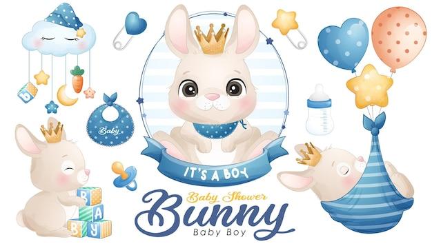 Śliczny doodle bunny baby shower z zestawem ilustracji akwareli