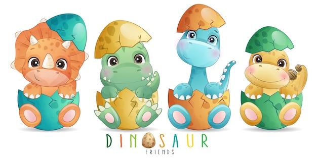 Śliczny doodle dinozaur z akwarelą
