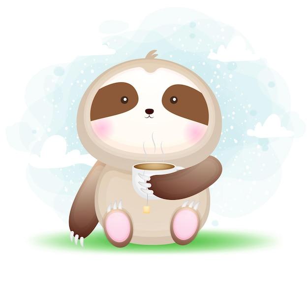 Śliczny doodle dziecko lenistwo trzymając kubek herbaty ilustracja kreskówka. jedzenie dla zwierząt