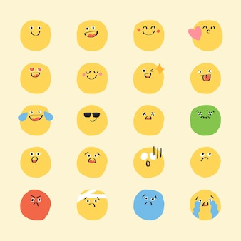 Śliczny doodle emotikon wektor zestaw cyfrowy naklejki