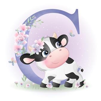 Śliczny doodle krowa baby shower z akwarelą ilustracji alfabetu