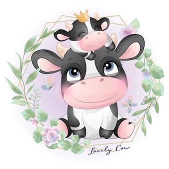 Śliczny doodle krowa baby shower z akwarelową ilustracją
