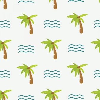 Śliczny doodle lata wzór z drzewkiem palmowym i fala