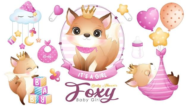 Śliczny doodle lisy baby shower z zestawem ilustracji akwareli