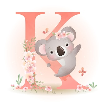 Śliczny doodle miś koala z ilustracja kwiatowy