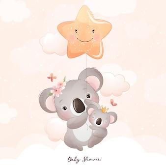 Śliczny Doodle Miś Koala Z Ilustracja Kwiatowy Premium Wektorów