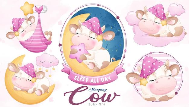Śliczny doodle śpiąca krowa baby shower z akwarelową ilustracją