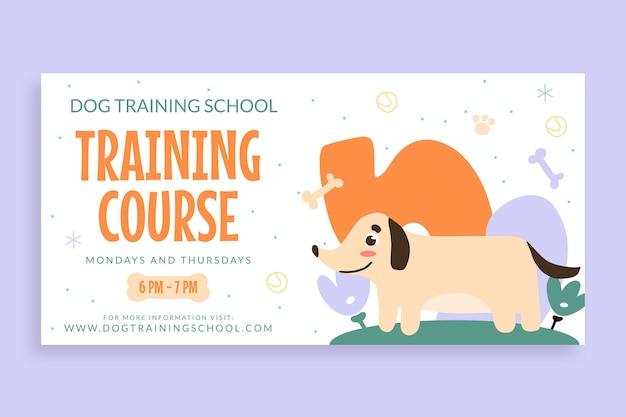 Śliczny doodle szkoła szkolenia psów twitter post