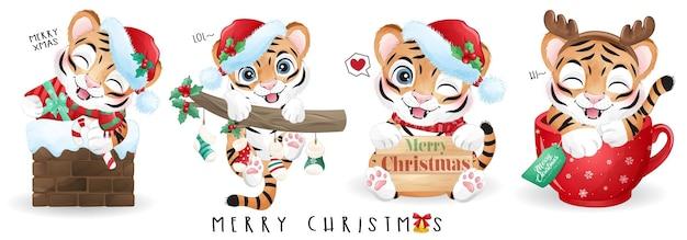 Śliczny doodle tygrys na wesoły zestaw ilustracji świątecznych