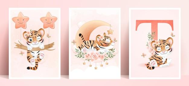 Śliczny doodle tygrys z zestawem ilustracji akwareli