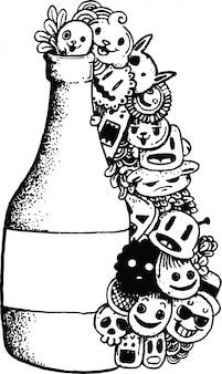Śliczny doodles potwór z butelką