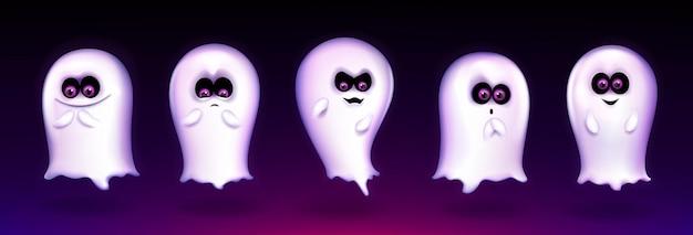 """Śliczny duch, zabawna halloweenowa istota wyrażająca różne emocje, upiorny duch emoji uśmiechnięty, krzyczący """"buuu"""". maskotka potwora fantasy z uroczą twarzą kawaii, realistyczna ilustracja wektorowa 3d, zestaw"""