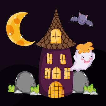 Śliczny ducha nietoperza dom halloween