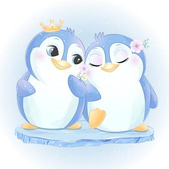 Śliczny dwa mały pingwin