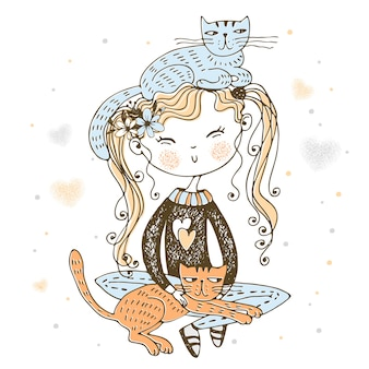 Śliczny dziarski dziewczyny obsiadanie z ich zwierzę domowe kotami ilustracyjnymi