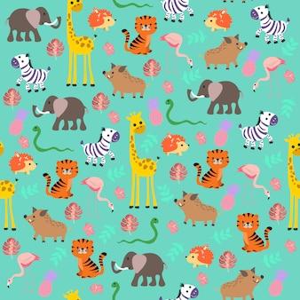 Śliczny dziecięcy wzór dżungli