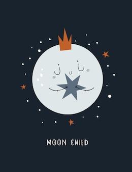 Śliczny dziecinny kreskówka dziecka księżyc w koronie z gwiazdą