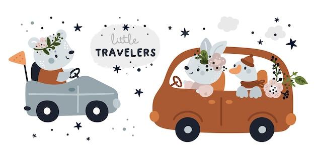 Śliczny dziecinny zestaw ze zwierzątkami kreskówki w samochodzie. milestone dla małych podróżników