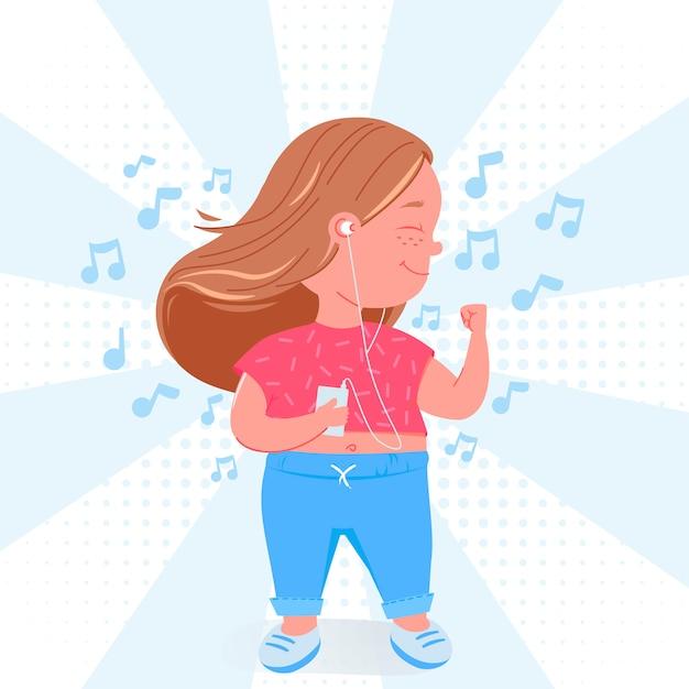 Śliczny dziecko dziewczyny charakter słucha muzyka. szczęśliwy taniec z odtwarzaczem mp3.