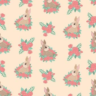 Śliczny dziecko królika zwierzęcy bezszwowy wzór