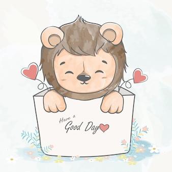Śliczny dziecko lew w pudełkowatej ręka rysującej kolor wody kreskówki ilustraci