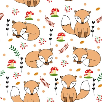 Śliczny dziecko lis bezszwowy wzór