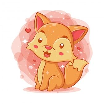 Śliczny dziecko lis siedzi i ono uśmiecha się
