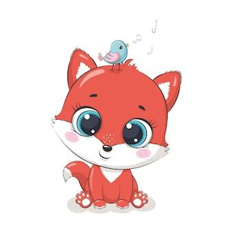 Śliczny dziecko lis z ptakiem. ilustracja na chrzciny, kartkę z życzeniami, zaproszenie na przyjęcie, nadruk koszulki z modnymi ubraniami.