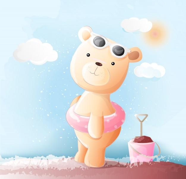 Śliczny dziecko niedźwiedź akwarela styl